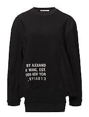 WAFFLE JERSEY RIB COMBO L/S SHIRT - BLACK