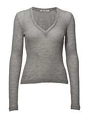 T By Alexander Wang - Sheer Wooly Rib Deep V-Neck L/S Top