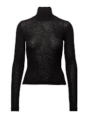 SHEER WOOLY RIB L/S FITTED TURTLENECK - BLACK