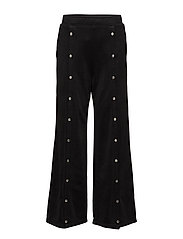 SLEEK FRENCH TERRY WIDE LEG PULL ON PANT W/ SNAPS - BLACK