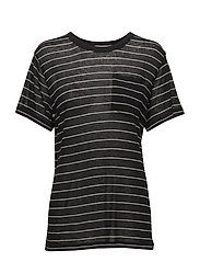 T By Alexander Wang - Striped Slub Jersey S/S Tee With Pocket