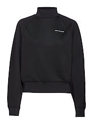 HEAVY SLEEK FRENCH TERRY TURTLE NECK SWEATSHIRT - BLACK