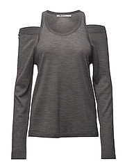 WASH & GO SOLID CUTOUT L/S SWEATER - HEATHER GREY