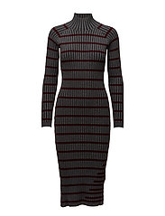 FITTED RIB W/ STRIPE INTARSIA L/S TURTLENECK DRESS - CHARCOAL WITH BURGUNDY STRIPE