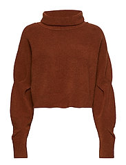 CHUNKY WOOL CROPPED L/S SWEATER - CAMEL