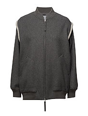 DOUBLE FACED WOOL JACKET - HEATHER GREY