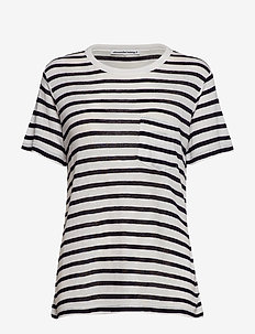 CLASSIC STRIPED SLUB JERSEY S/S TEE W/ POCKET - INK AND IVORY
