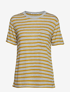 NEW STRIPED SLUB - SS TOP - HEATHER GREY/CHARTREUSE