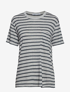 NEW STRIPED SLUB - SS TOP - HEATHER GREY/ASPHALT