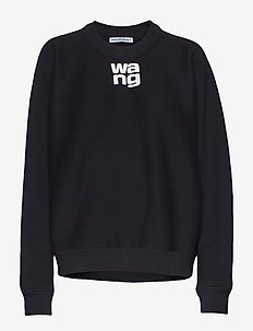 WASH & GO DENSE FLEECE CREWNECK W/PUFF PAINT PRINT - BLACK