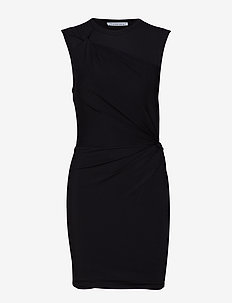 TWISTED CREPE JERSEY MINIDRESS - BLACK