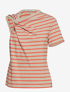THIN STRIPE HIGH TWIST TWISTED TOP - KHAKI/BRIGHT ORANGE