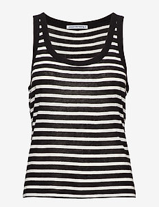 STRIPED SLUB JERSEY TANK - BLACK/WHITE