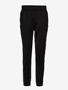 SLEEK FRENCH TERRY PULL-ON TRACK PANT w/LOGO TAPE - BLACK
