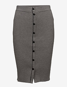 SKINNY RIB PENCIL SKIRT W/ SNAP DETAIL - HEATHER GREY
