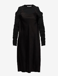 WOVEN DRESS WITH WRAP JERSEY COMBO - BLACK WITH BLACK COMBO