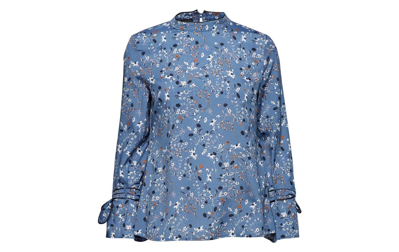 sleeve Taifun 100 Print Long Blouse Polyester Moonlight Blue FRqA6wEq