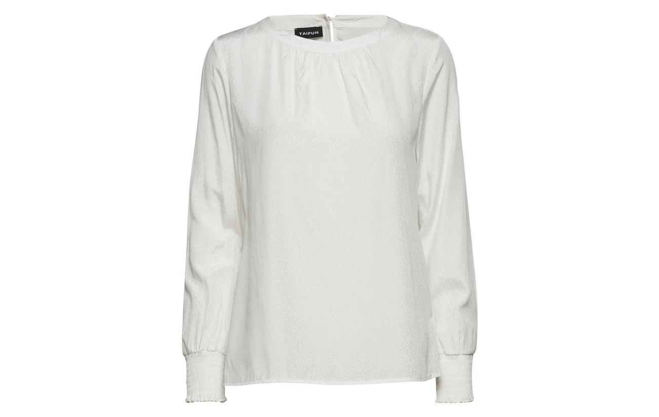 sleeve Polyester Blouse Taifun Viscose white Off 57 Long 43 1Kf1EUqWay