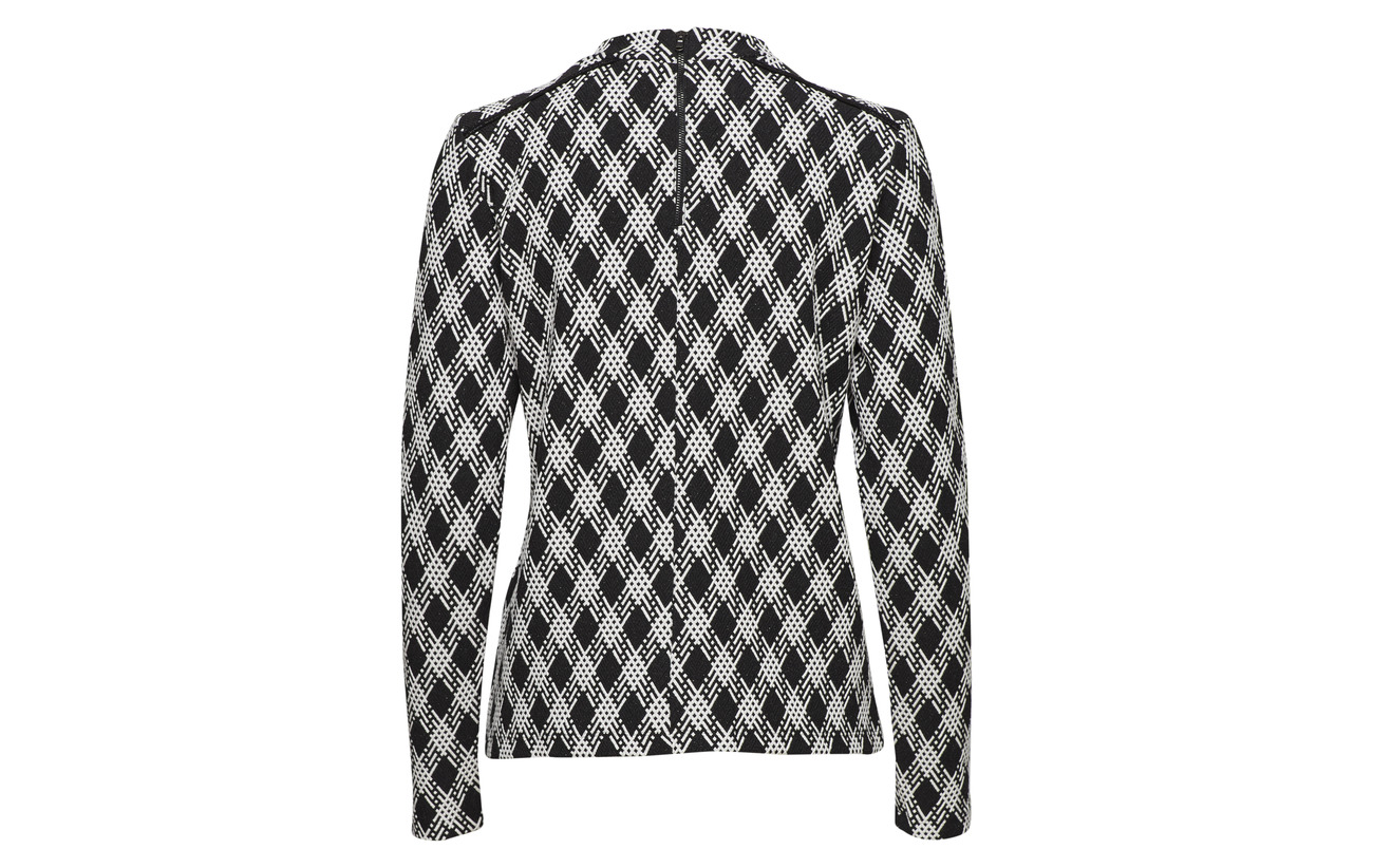 Black Long 43 sleeve shirt Patterned Viscose 3 12 Polyester Taifun 42 Elastane Coton T xpYIwES