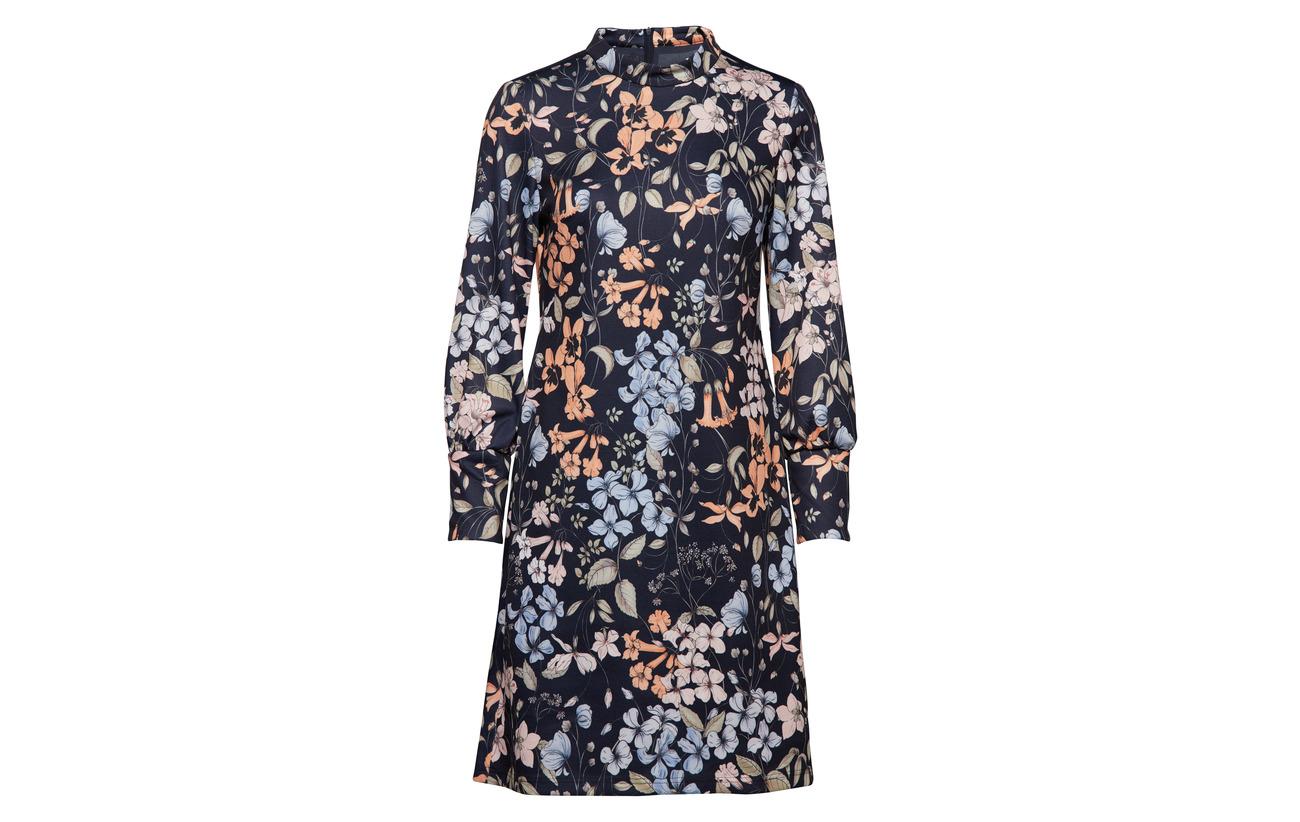 Elastane Black 96 Fabric 4 Woven Dress Patterned Iris Taifun Polyester 1wTzqc
