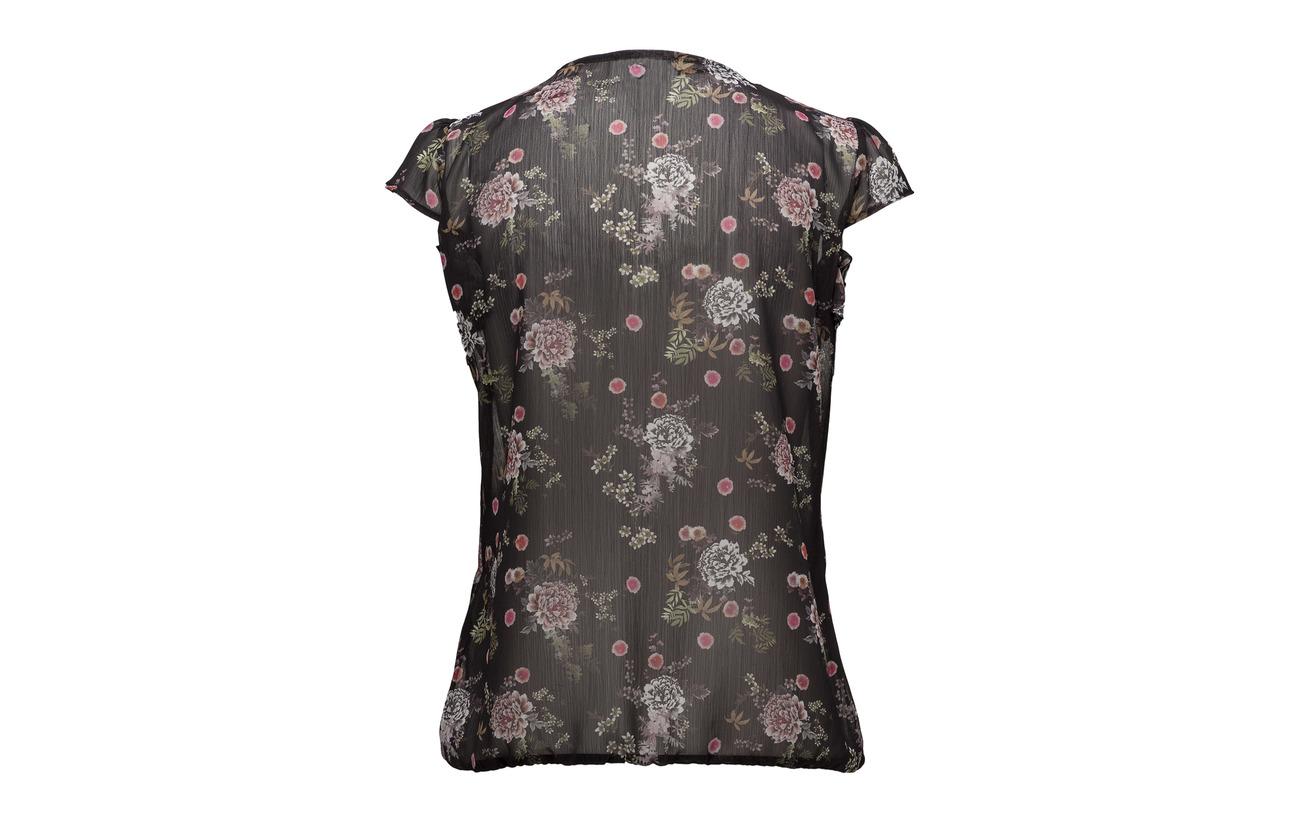 Print Blouse Taifun sleeve Polyester Black 100 Short 8I7Cq