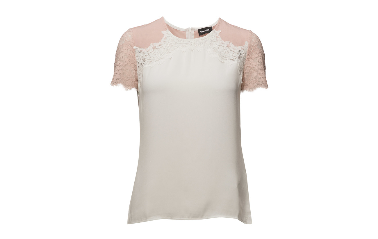 Off sleeve 5 Patched Viscose Elastane Taifun T Short 95 white shirt pgTqp4Ic