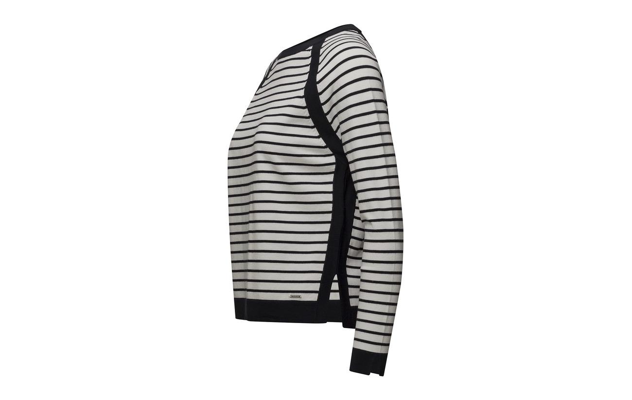 Polyamide 68 Off Elastane Pullover Stripe 14 sleeve Taifun Long white Viscose 18 znfYRYS1q