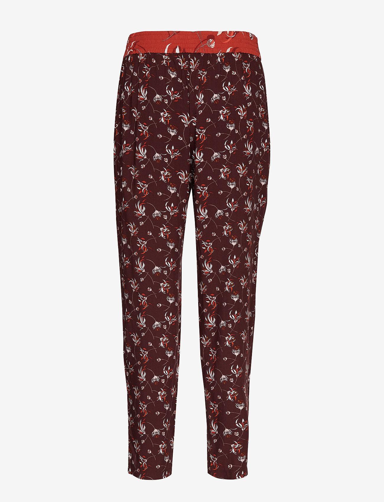 Taifun - CROP LEISURE TROUSER - straight leg trousers - deep burgundy patterned