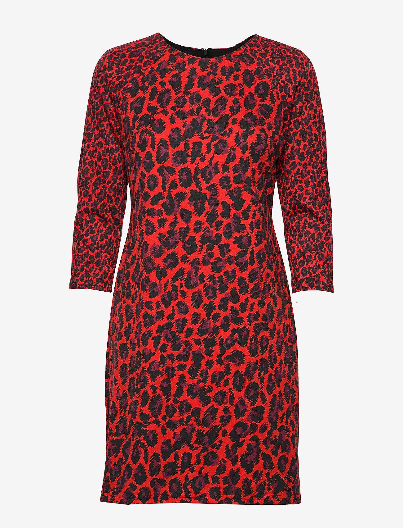 Taifun - DRESS WOVEN FABRIC - korta klänningar - lipstick red patterned - 0