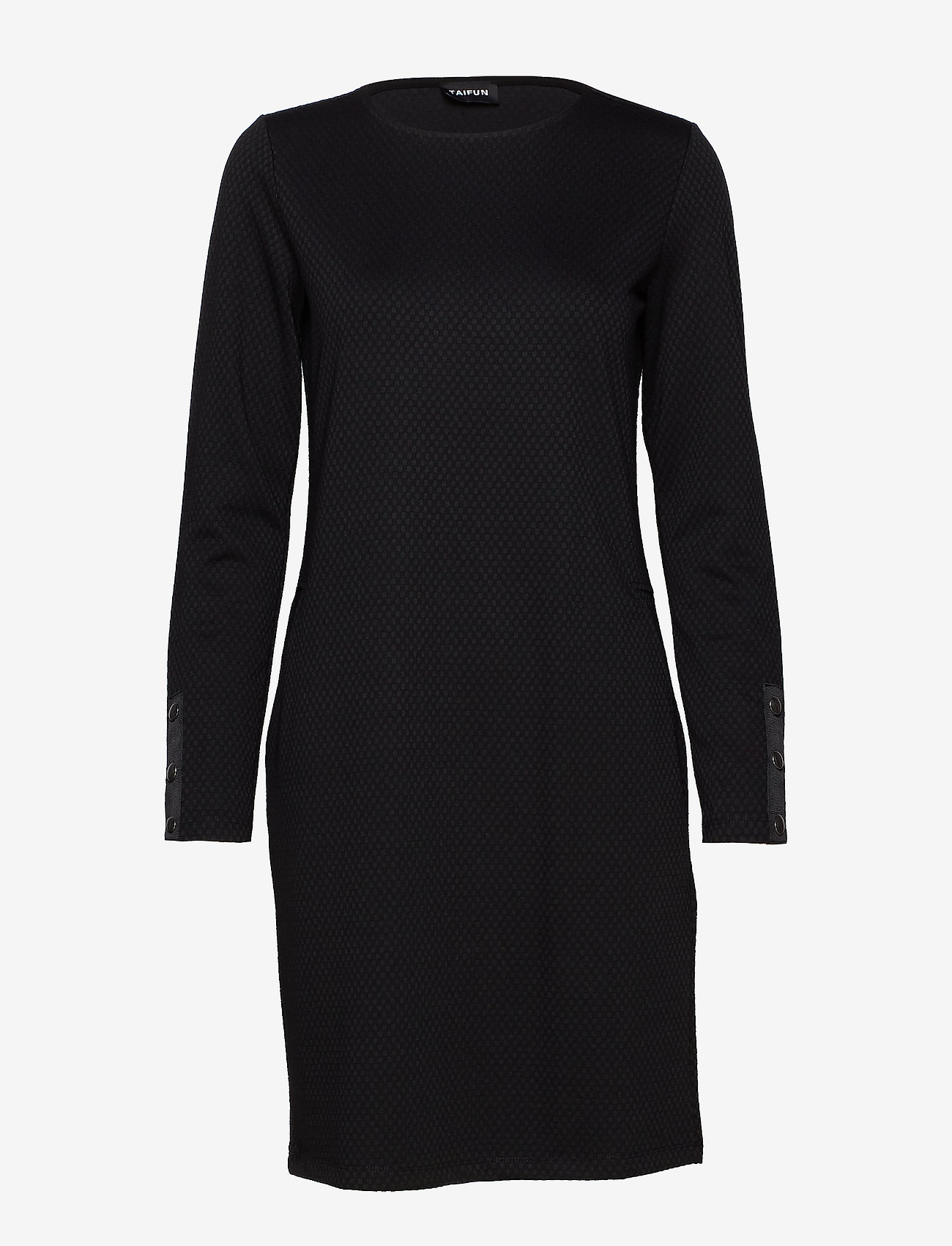 Taifun - DRESS KNITTED FABRIC - korta klänningar - black - 0