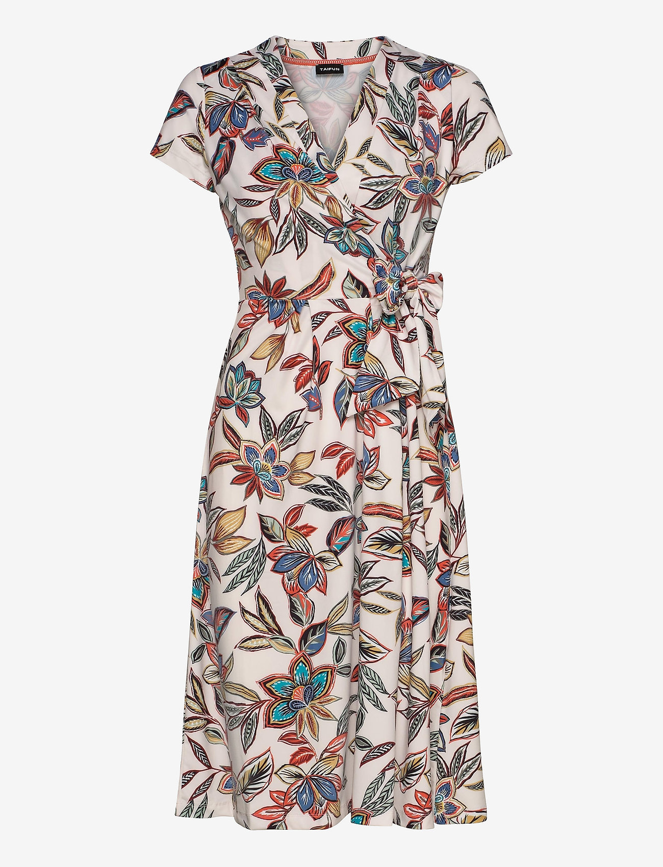 Taifun - DRESS KNITTED FABRIC - omlottklänning - linen patterned - 0