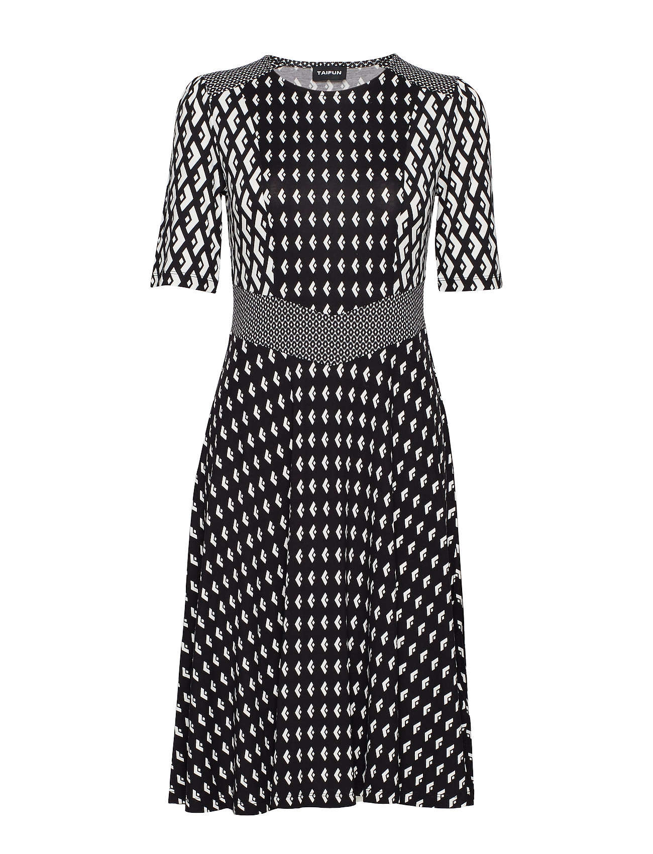 Taifun DRESS KNITTED FABRIC - BLACK PATTERNED