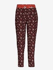 Taifun - CROP LEISURE TROUSER - straight leg trousers - deep burgundy patterned - 0