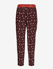Taifun - CROP LEISURE TROUSER - straight leg trousers - deep burgundy patterned - 1