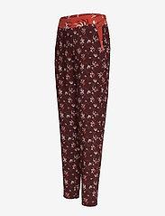Taifun - CROP LEISURE TROUSER - straight leg trousers - deep burgundy patterned - 2