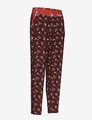 Taifun - CROP LEISURE TROUSER - straight leg trousers - deep burgundy patterned - 3