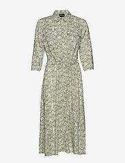Taifun - DRESS WOVEN FABRIC - skjortklänningar - khaki leaf patterned - 0