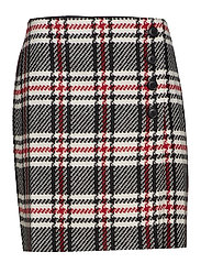 SKIRT SHORT WOVEN FA - BLACK PATTERNED