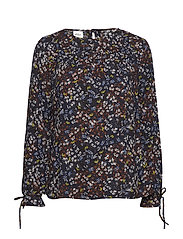 BLOUSE LONG-SLEEVE - NAVY PRINT