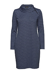 DRESS WOVEN FABRIC - NAVY PATTERNED