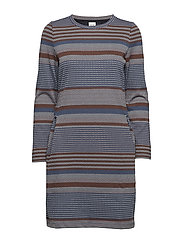 DRESS KNITTED FABRIC - MOONLIGHT BLUE STRIPE