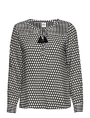 BLOUSE LONG-SLEEVE - BLACK PATTERNED