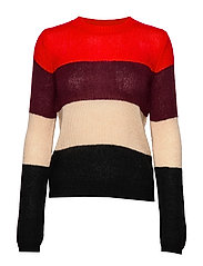 PULLOVER LONG-SLEEVE - LIPSTICK RED PATTERNED