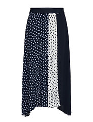 SKIRT LONG WOVEN FAB - BLUE SHADOW PATTERNED
