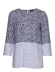 BLOUSE 3/4-SLEEVE - BLUE SHADOW PATTERNED