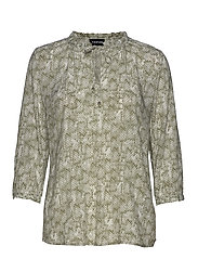 BLOUSE 3/4-SLEEVE - KHAKI LEAF PATTERNED