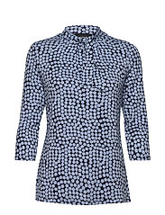 T-SHIRT 3/4-SLEEVE R - BLUE SHADOW PATTERNED