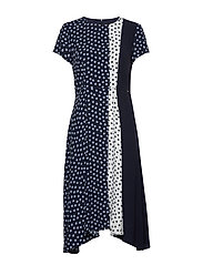 DRESS WOVEN FABRIC - BLUE SHADOW PATTERNED