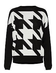 PULLOVER LONG-SLEEVE - BLACK PATTERNED