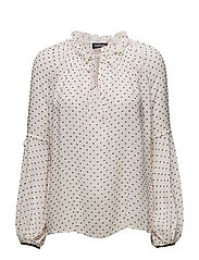 BLOUSE LONG-SLEEVE - WHITE SWAN PATTERNED